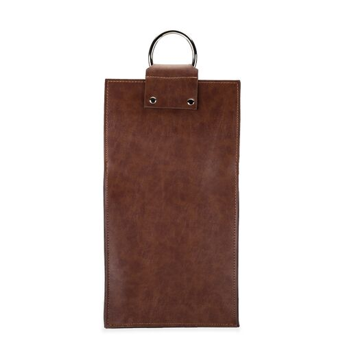 Admiral: Faux Leather Double Bottle Brown Wine Tote