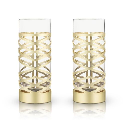 Belmont: Gold & Crystal Patterned Highball Glasses