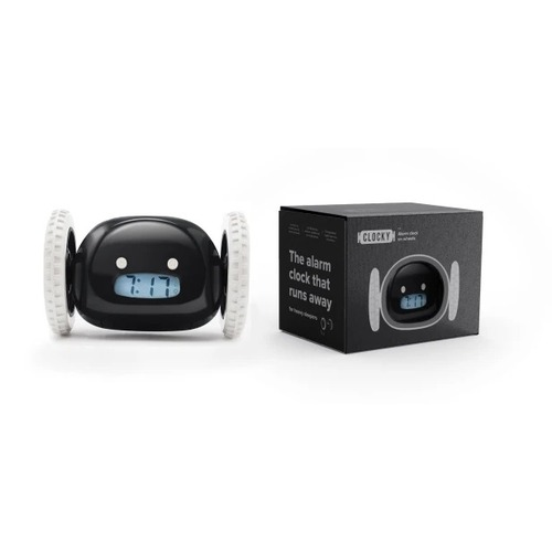 Black Clocky® Alarm Clock on Wheels