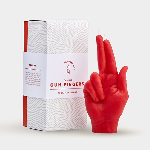 """Gun fingers"" Hand Gesture Candle Red"
