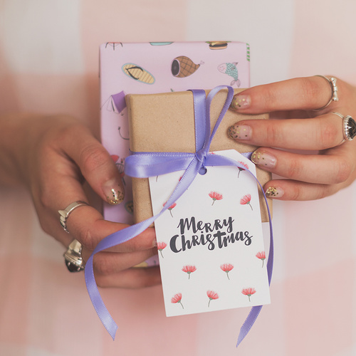 Merry Christmas Gift Tag (flowers)