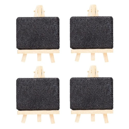 Slate Chalkboard with Wooden Easel (Set of 4)